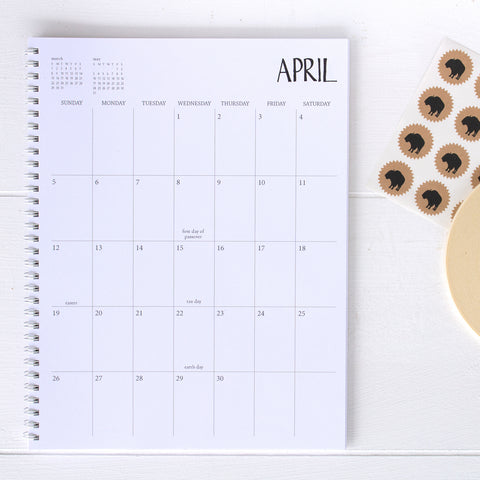 2 year large monthly spiral planner - start any month