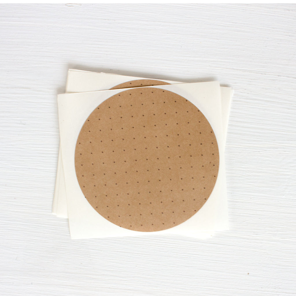 kraft large circle sticker - dot grid