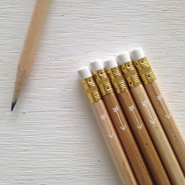 natural pencils with white foil arrow