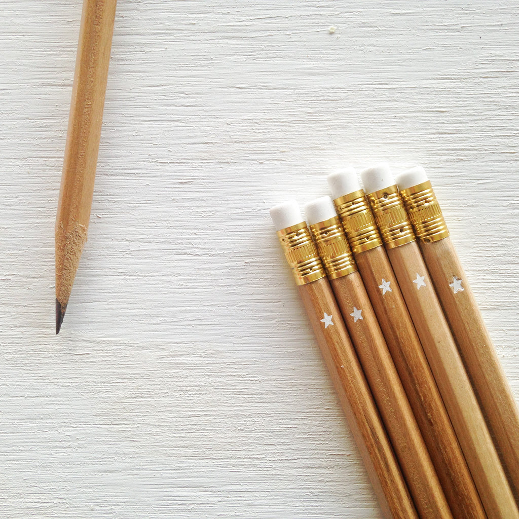 natural pencils with star