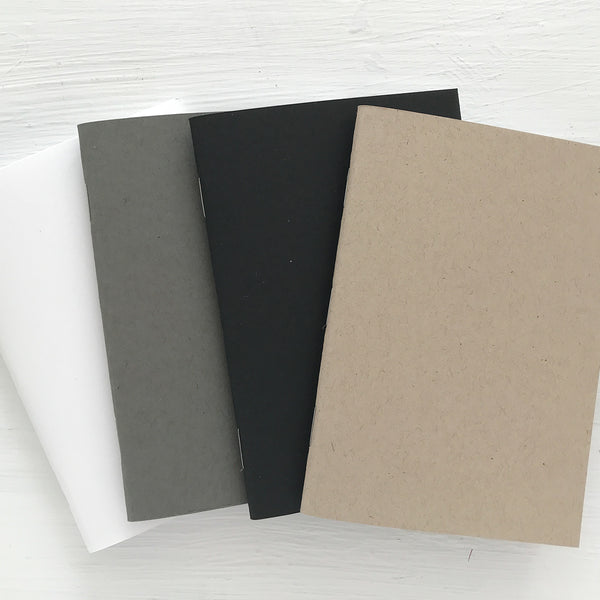 set of 4 mini kraft pocket journals - lined, blank or dot grid