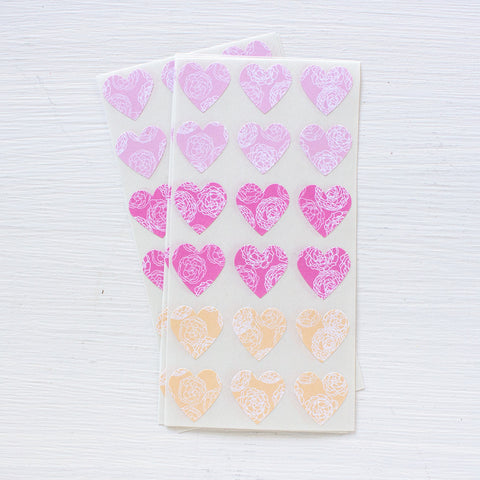 mini heart stickers - peonies