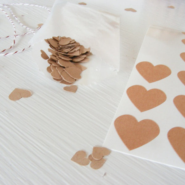 kraft mini heart sticker kit