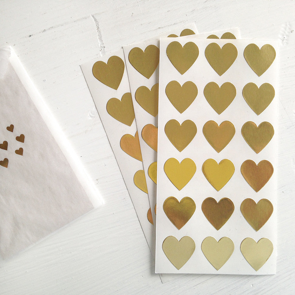 gold mini heart stickers