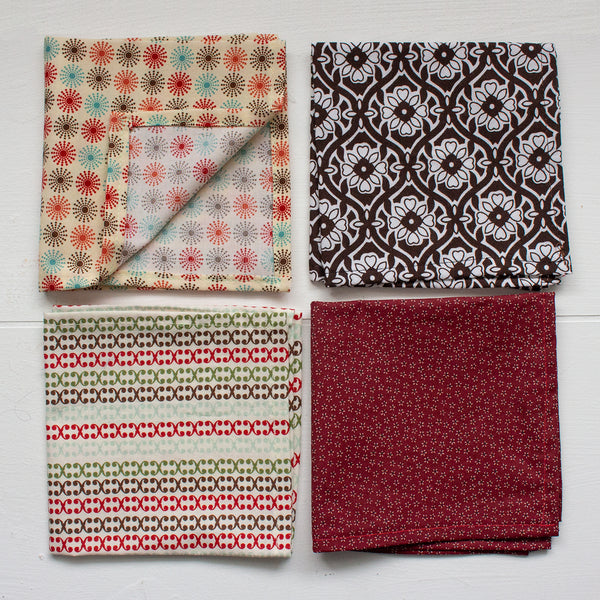 cloth napkins - brown and maroon