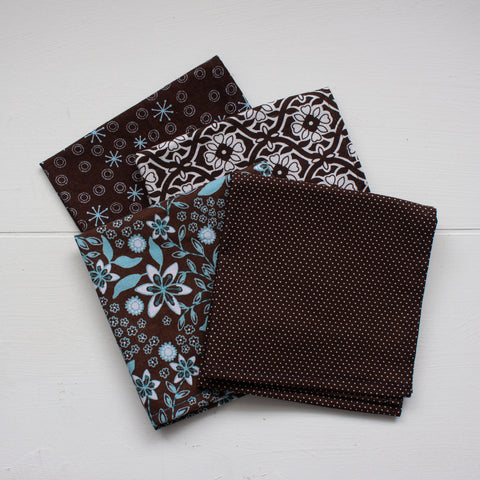 cloth napkins - brown and teals - set 2