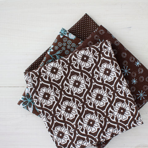 cloth napkins - brown and teals