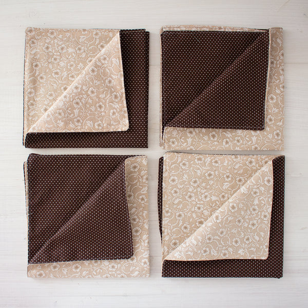 cloth napkins - floral browns
