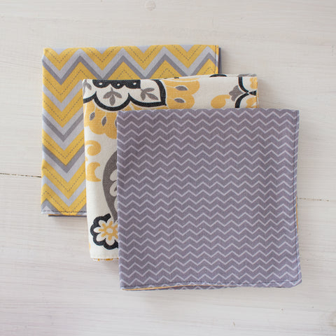 cloth napkins - grey and yellow