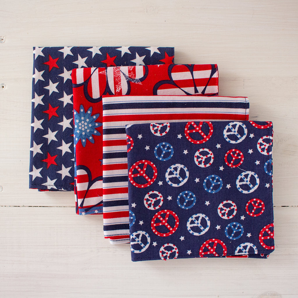 cloth napkins - red, white and blue