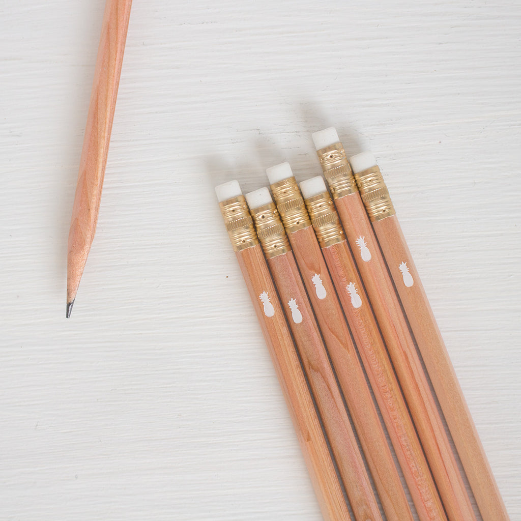 natural pencils with white foil pineapple