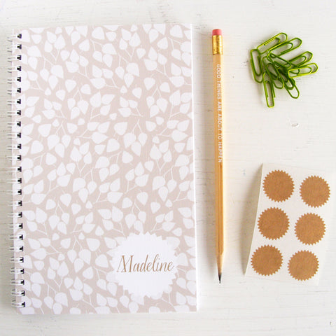 birch leaves personalized travel notebook