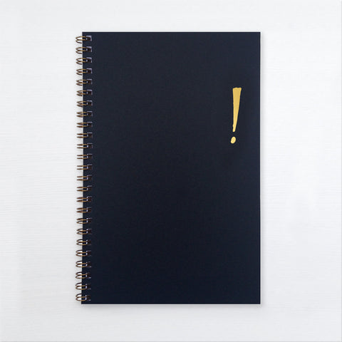 gold foil notebook - exclamation