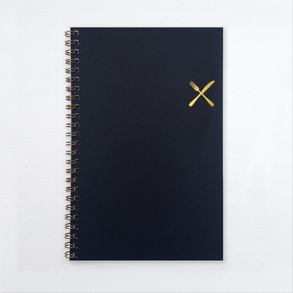 gold foil notebook - fork and knife