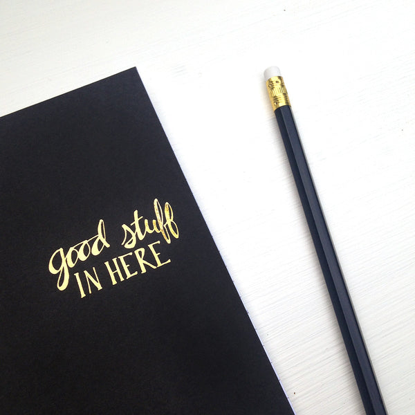 gold foil notebook - good stuff