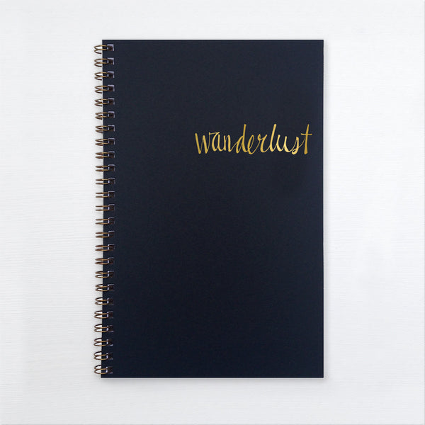 gold foil notebook - wanderlust