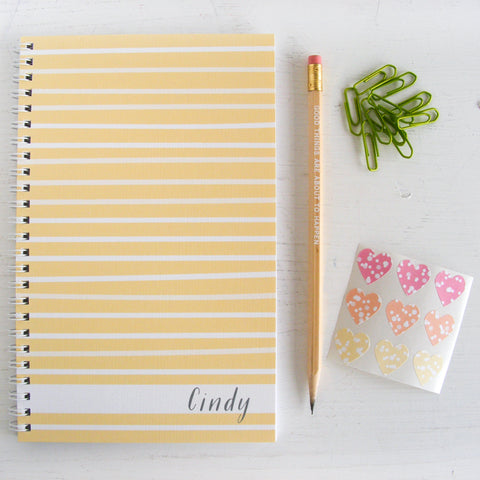 watercolor stripes personalized travel notebook