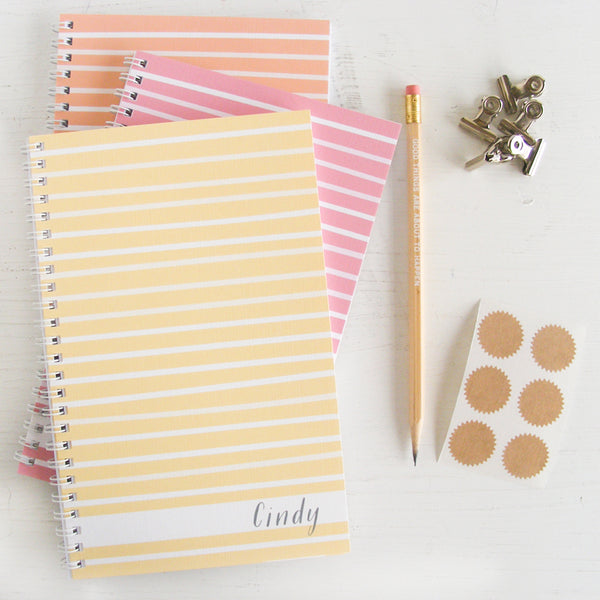 set of 3 watercolor stripes personalized travel notebooks