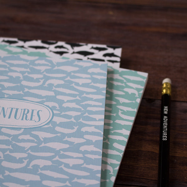 pod of whales personalized travel notebook