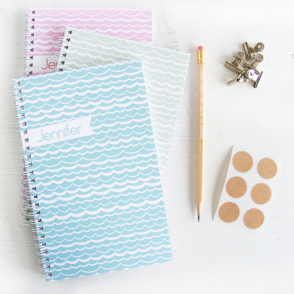 set of 3 waves personalized travel notebooks