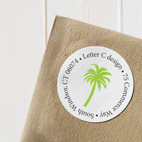 colorful palm tree address labels