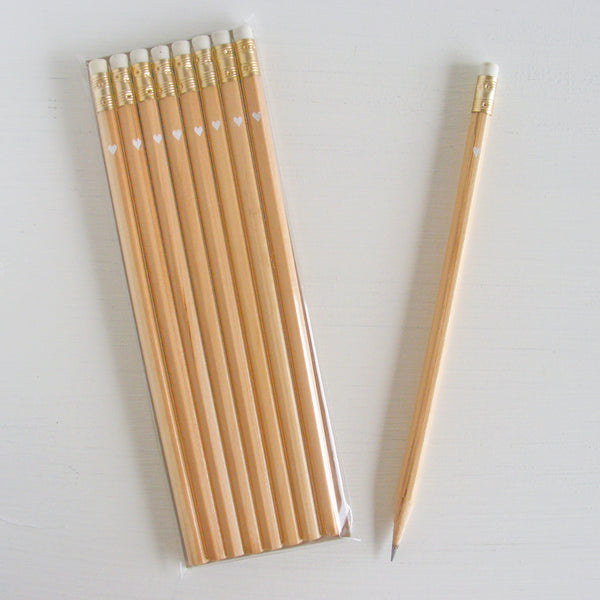natural pencils with petite foil heart