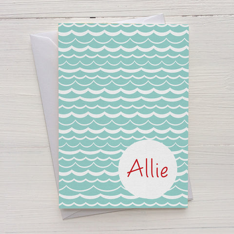 waves folded mix and match personalized notecards and gift set