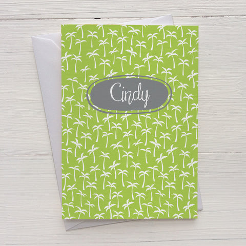 palm trees mix and match personalized notecards and gift set