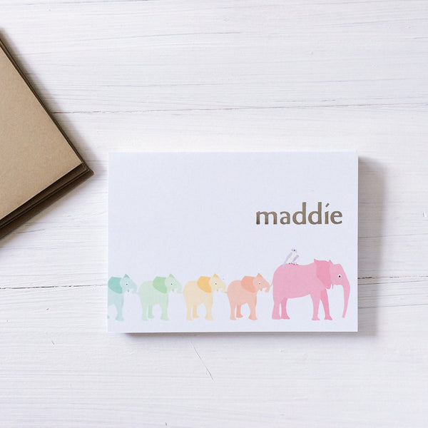 personalized elephant parade note card set