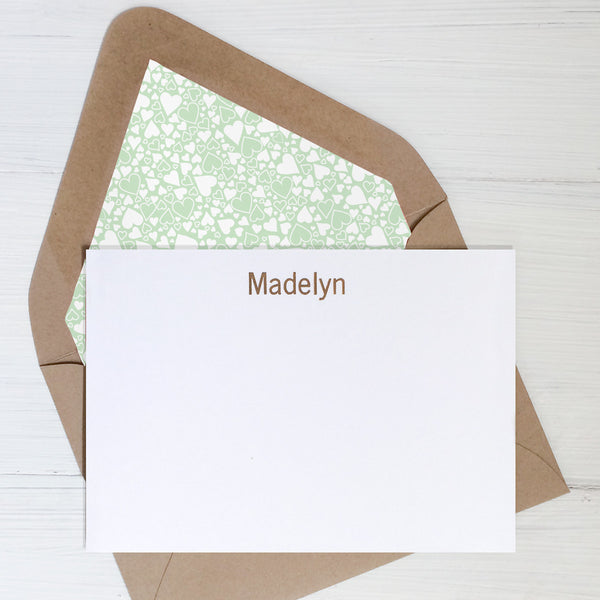 gold personalized foil notecards and gift set with your choice of lined envelopes