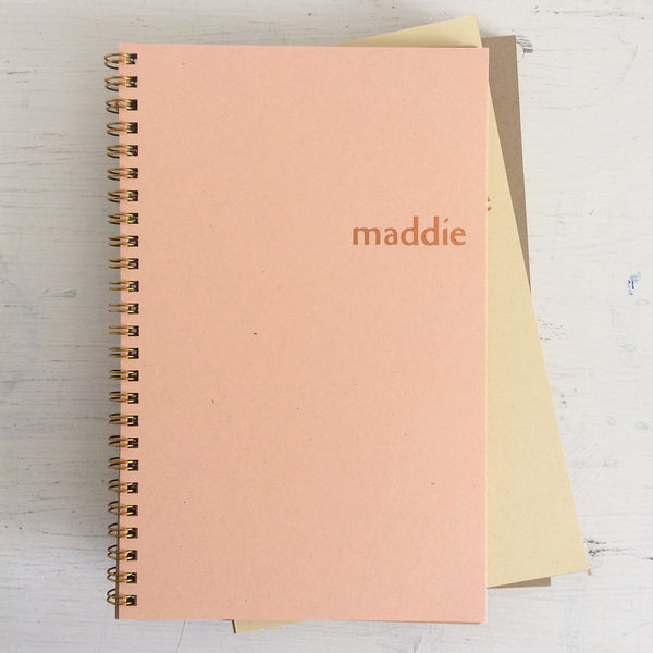 kraft personalized foil pressed notebook set
