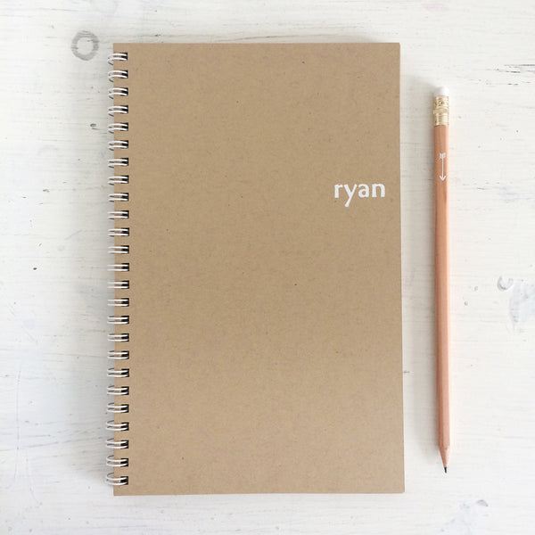 kraft personalized foil pressed notebook