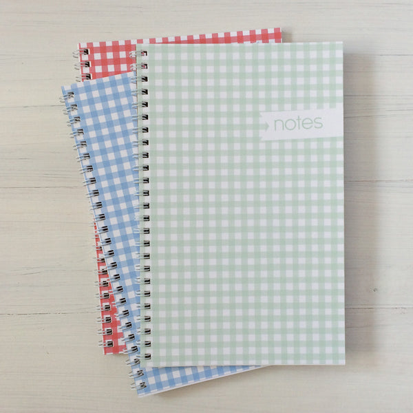gingham personalized travel notebook set
