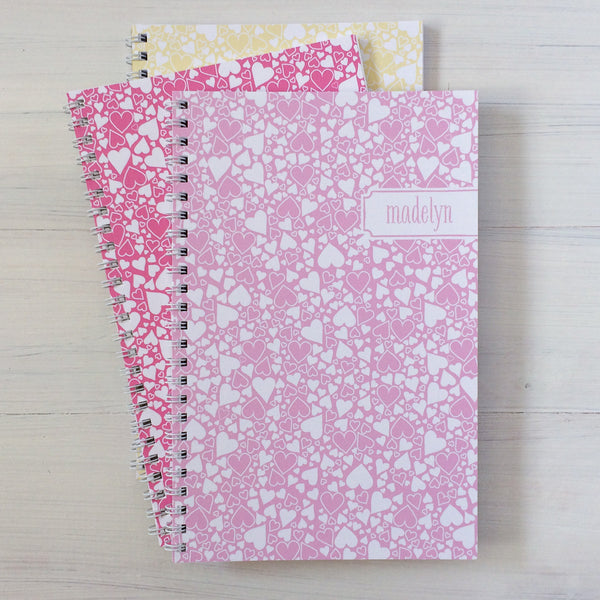 heart bubbles personalized travel notebook set