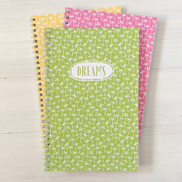 palm trees personalized travel notebook set