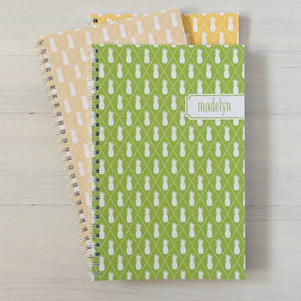 pineapples personalized travel notebook set