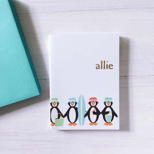 personalized chillen penguins note card set