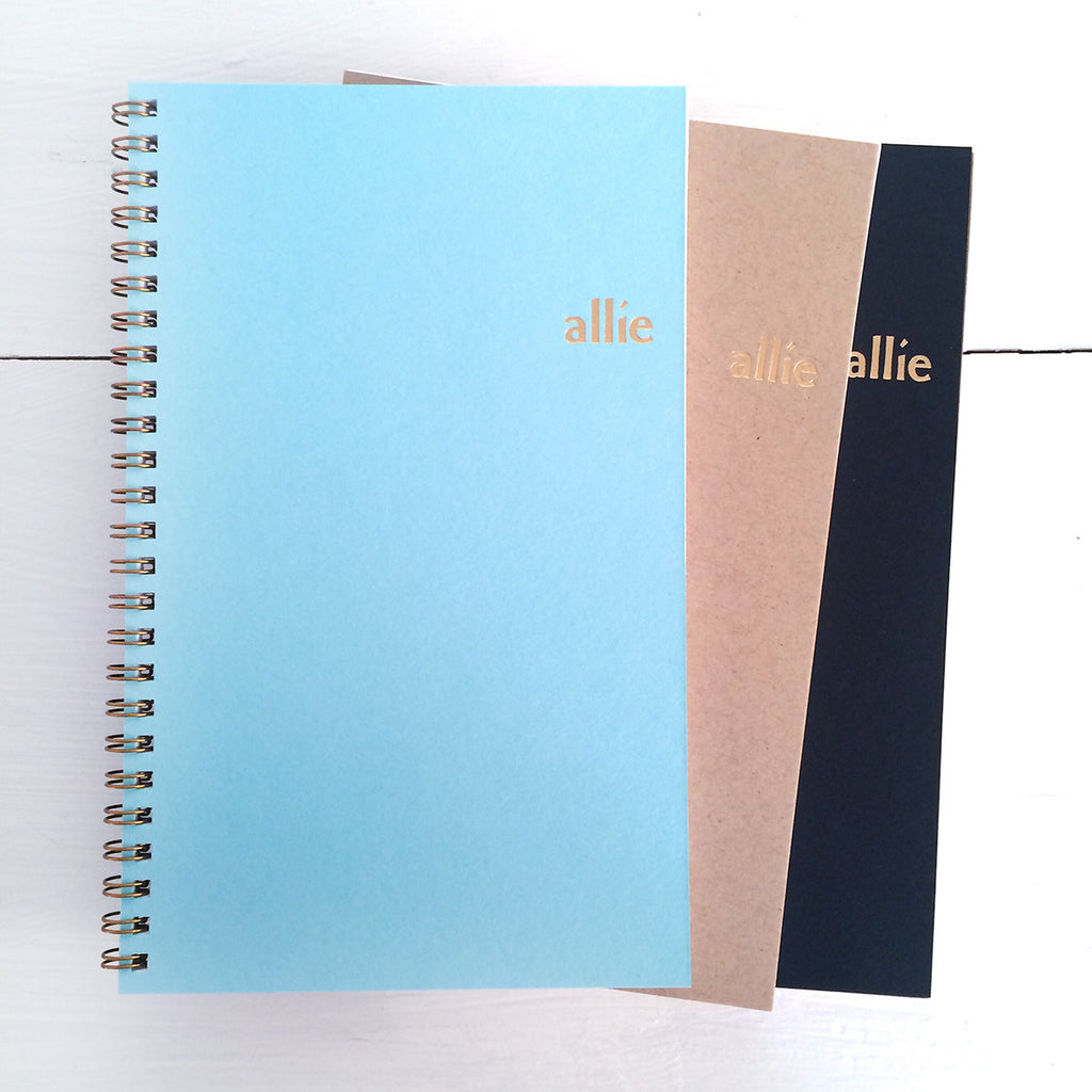 personalized gold foil pressed notebook set