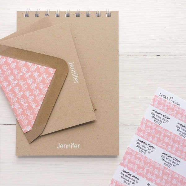 kraft personalized foil notecards and gift set with your choice of lined envelopes