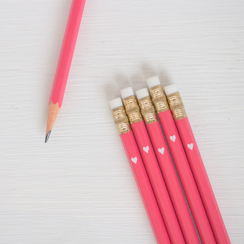 pink pencils with white foil petite heart