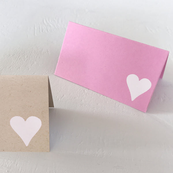 heart foil stamped place cards