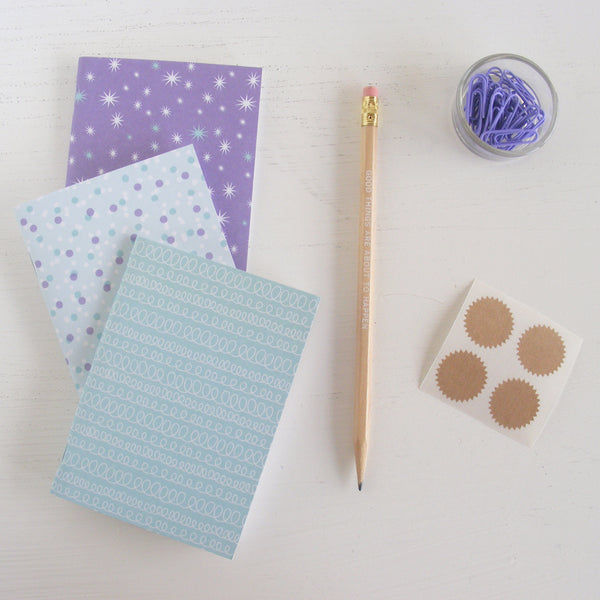 set of 3 pocket journals - celebrate in blu slushy