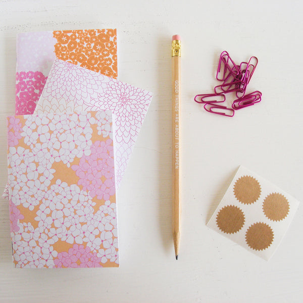 set of 3 pocket journals - in the garden in hot pink and orange