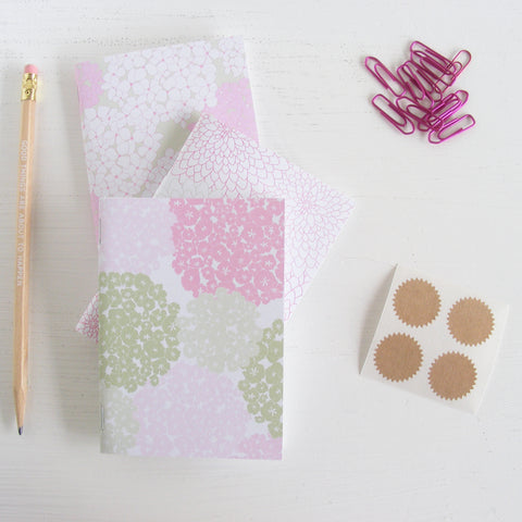 set of 3 pocket journals - in the garden light pink and green
