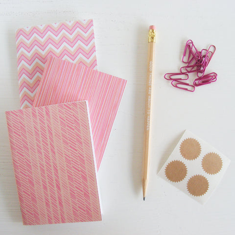 set of 3 pocket journals - lined in creamscicle