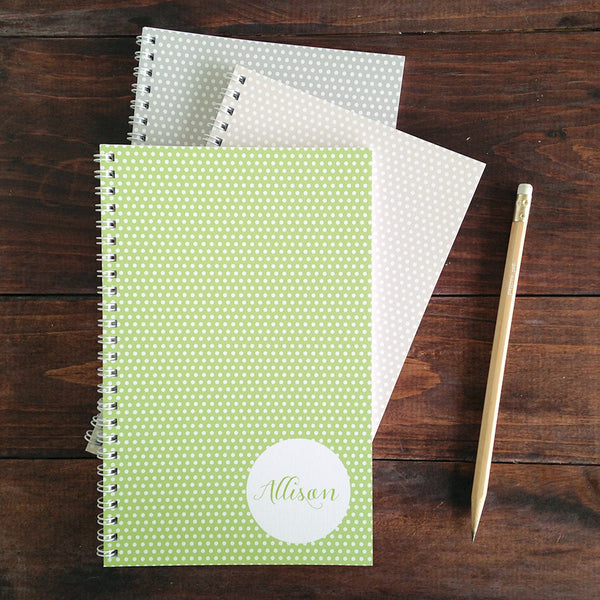 set of 3 swiss dot personalized travel notebooks