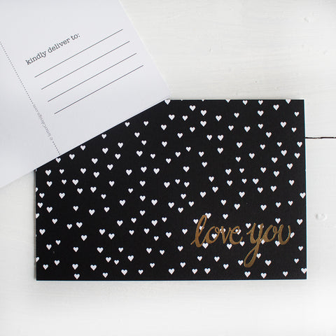 black, white and gold love you postcards