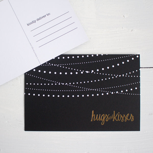 black, white and gold hugs and kisses postcards