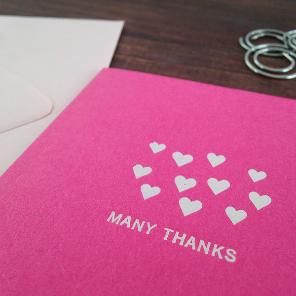 tiny hearts MANY THANKS folded notecards