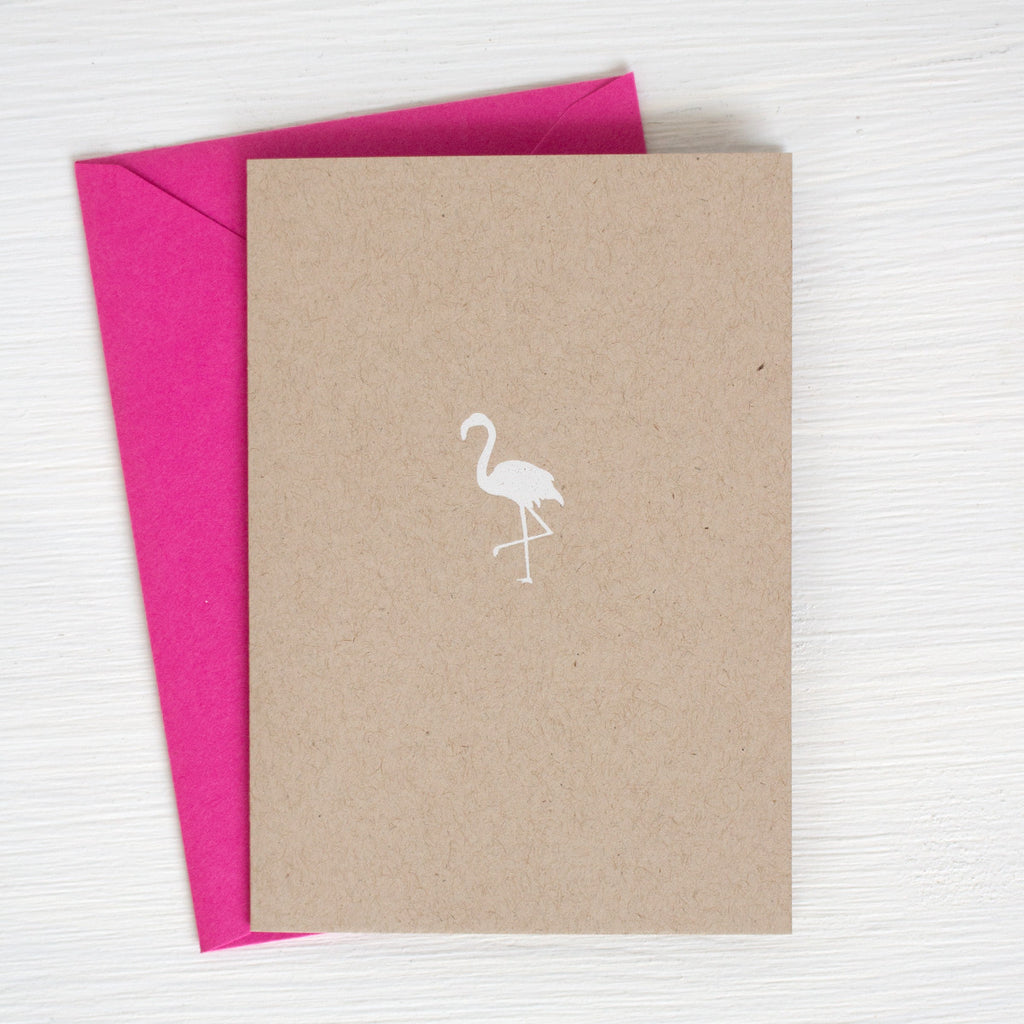 FLAMINGO kraft folded notecards